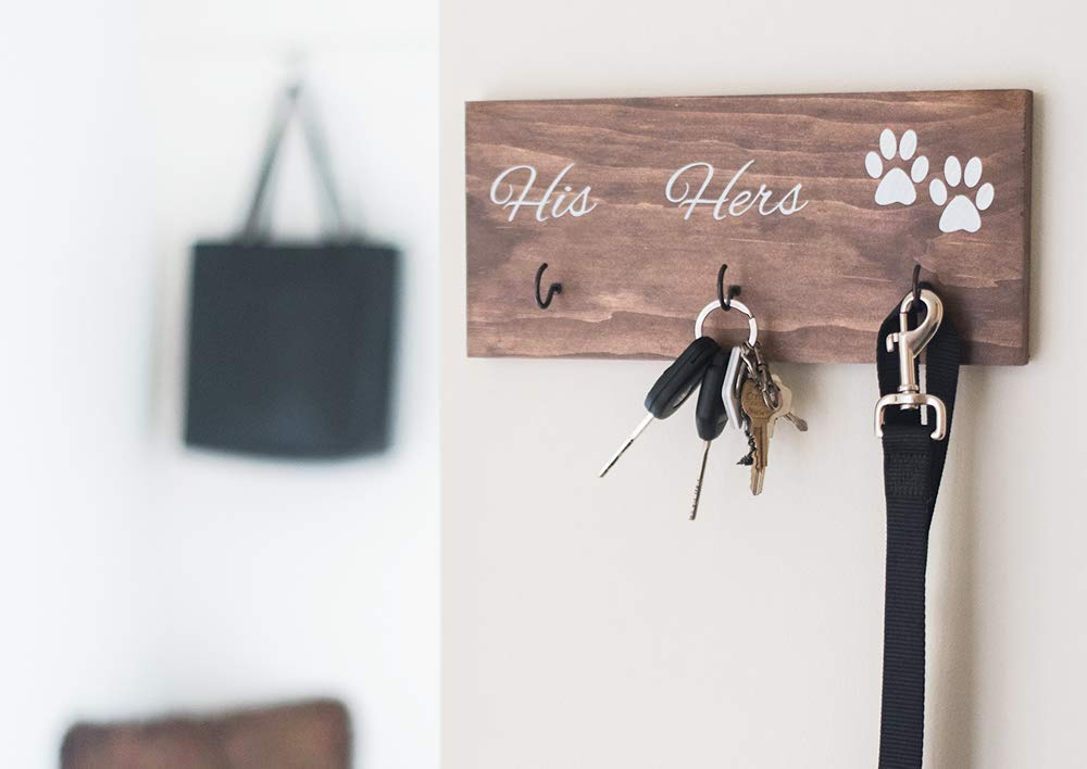 Wall Mounted His Hers and Paws Leash and Key Holder, Dog Lover Gift for Women, 12
