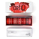 Washi Tape Set [10 rolls] - 330 Feet Long - Acrylic Organizer and Dispenser Box - Decorative Washi Tapes - Colorful Craft Tape - Adhesive Decor Masking Tape with Gift Box by ArtQ - Red