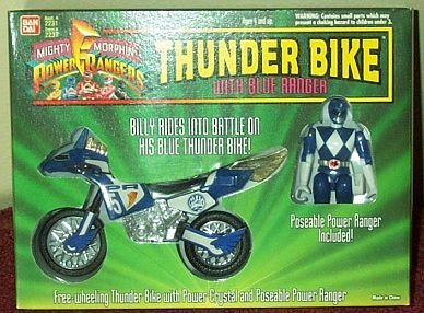 Mighty Morphin Power Rangers THUNDER BIKE w/ Billy Blue Ranger Action Figure (1994 Bandai) (Bike Billy)