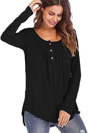 DOKER - Camisa de manga larga con botones y cuello en V para mujer, color negro 5XL: Amazon.es: Ropa y accesorios