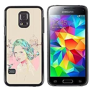 Exotic-Star ( Girl Hummingbird Pink Beige Emo ) Fundas Cover Cubre Hard Case Cover para Samsung Galaxy S5 Mini / Samsung Galaxy S5 Mini Duos / SM-G800 !!!NOT S5 REGULAR!