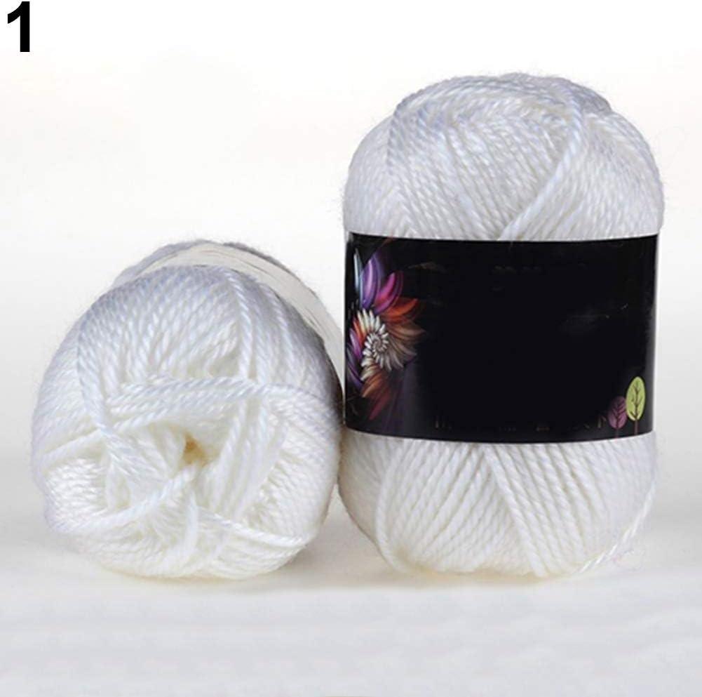 Juego de costura Feli546Bruce, 1 madeja de algodón de ganchillo de bambú suave de 50 g para tejer, suéter de bebé, lana tejida, suministros de costura para principiantes, adultos y niños, 1
