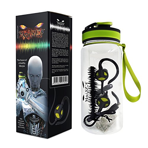 Noi5e5 Tritan Water Bottle and 4.1 Bluetooth Headphones Bundle - Flip Top, Sweat Resistant Hydration - Wireless In-Ear Earbuds Set for Exercise, Fitness, CrossFit, Best Buy Gift