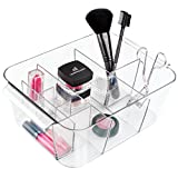 InterDesign Clarity Plastic Divided Cosmetic Bin Tote Vanity Organizer, Storage for Cosmetics, Makeup, and Accessories on Vanity, Countertop, Bathroom, or Cabinet , 8 Compartments, Clear
