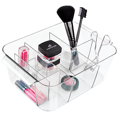 Vanity Tote - InterDesign Clarity Plastic Divided Cosmetic Bin Tote Vanity Organizer, Storage for Cosmetics, Makeup, and Accessories on Vanity, Countertop, Bathroom, or Cabinet , 8 Compartments, Clear