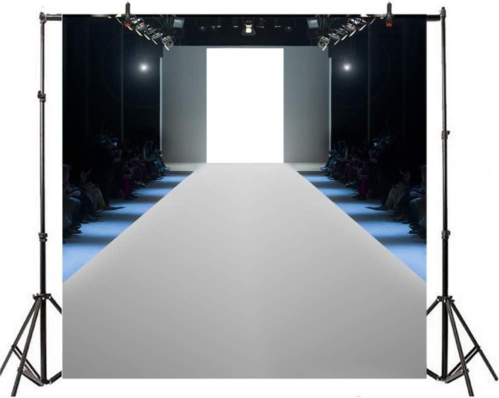Modern T-Show Backdrop 10x10ft Vinyl Show Field Interior Bright Spotlights Spectators Photography Background Fashion Show Runway Scene Model Portrait Shoot Performance Stage Event Live Show