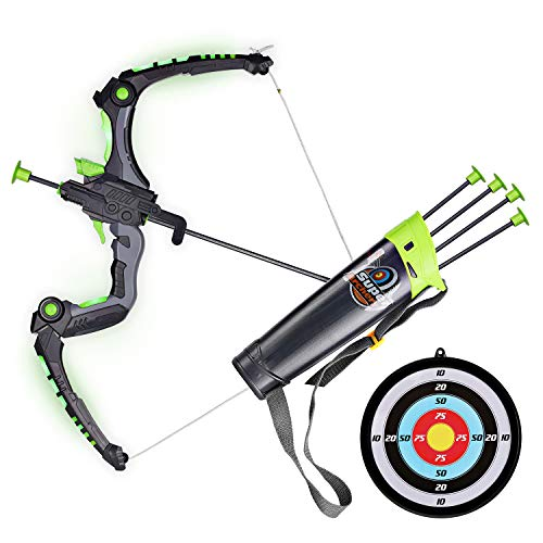 (SainSmart Jr. Kids Bow and Arrows, Light Up Archery Set for Kids Outdoor Hunting Game with 5 Durable Suction Cup Arrows, Luminous Bow and Sighting Device, Green )