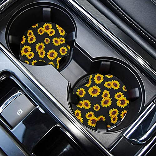 Car Coasters for Drinks Absorbent, Cute Car Coasters for Women, ar Cup Holder Coasters for Your Car with Fingertip Grip, Auto Accessories for Women & Lady,Pack of 2 (Sunflower)
