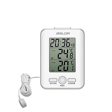 Florlife - Termómetro Digital para Interiores y Exteriores, con Sensor LCD y Cable de sonda