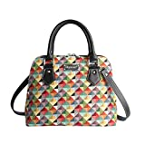 Black Playful Puppy Dog Women's Fashion Tapestry Top Handle Handbag with Detachable Strap to Convert to Shoulder Bag by Signare (CONV-SCOT)