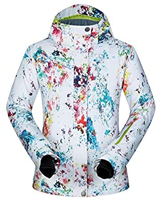 Women's Ski Jacket Outdoor Waterproof Windproof Coat Snowboard Mountain Rain Jacket Bright Colorful Print