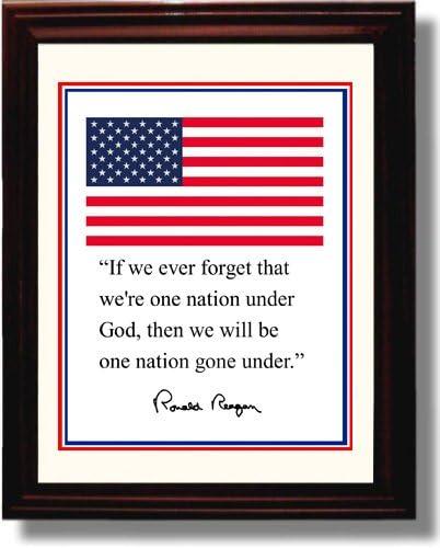 Framed Ronald Reagan Autograph Replica Print Presidential Quote 8x10 Print