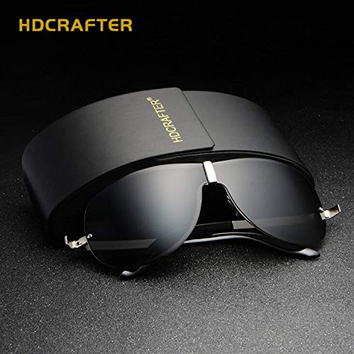 send her boyfriend men's high-end sunglasses box polarized sunglasses aluminum sunglasses face-lift anti-sandstorm lovers yurt car driver driving sunglasses (e008 black silver frame piece section (ao ()