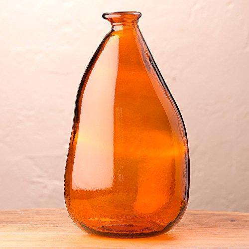 Orange Oblong Recycled Glass Balloon Vase, 14'' by Vivaterra
