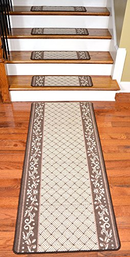 Stair Treads - 13 Caramel Scroll Border with Matching 5' Runner