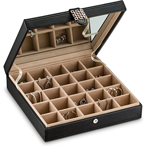 Glenor Co Earring Organizer - Classic 25 Section Jewelry Box / Case / Holder for Earrings, Rings, Necklaces, Jewelry, Cufflinks or Collections. 25 Small Compartments with Elegant Large Mirror - Black