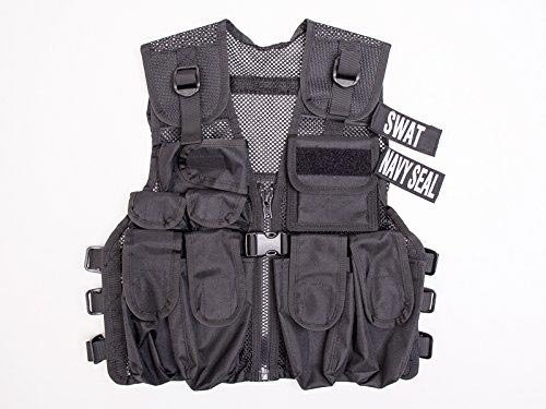 Kids Special Forces Black Play Vest, Navy Seals & SWAT, Fits Ages 5 - 13 Yrs -