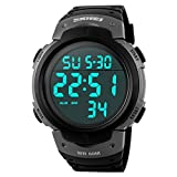 USWAT Men Simple Sports Watches Digital LED Military Watch Swim Alarm Outdoor Casual Wristwatches Gray