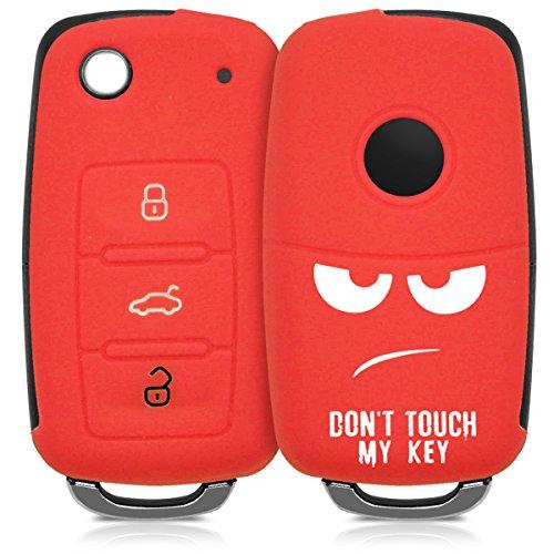 kwmobile autosleutel hoesje compatibel met VW Skoda Seat 3-knops autosleutel – Autosleutel behuizing in wit/rood – Don't…