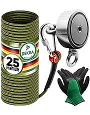 Jungle Monkey Premium magneethengelset - 250 kg trekkracht DEKRA getest - complete set magneetvissen incl. 25 m touw + waterdichte handschoenen voor magneet vissen
