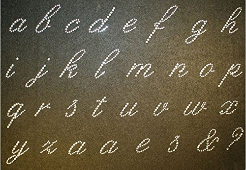 World Cursive Alphabet Set (Lowercase Cursive Alphabet Full Sheet Rhinestone Iron on Transfer)