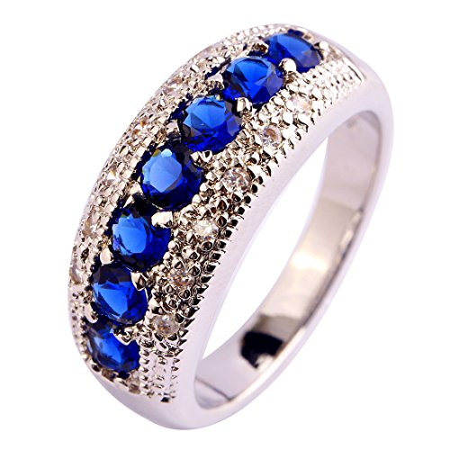 Humasol 925 Sterling Silver Filled Round Cut Lab-Created Sapphire Quartz Promise Wide Band Engagement Ring for - Lab Quartz