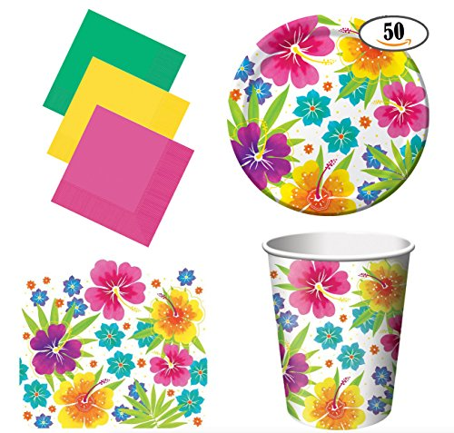 Hawaiian Luau Summer Party Pack for 50 with 2 table covers (Luau Dish)