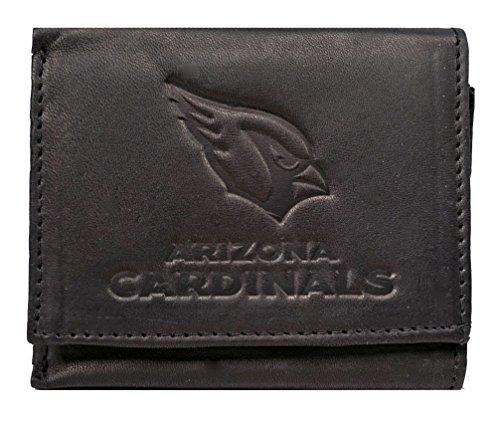 Rico Arizona Cardinals NFL Embossed Logo Black Leather Trifold Wallet