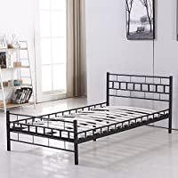 Bestmart INC Foldable Easy Set-up Steel Bed Frame/Platform Bed Bedroom Furniture Black (Twin)