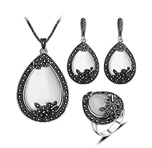 Tide retro elegant lady personal jewelry ring earrings three-piece suit Korean fashion necklace