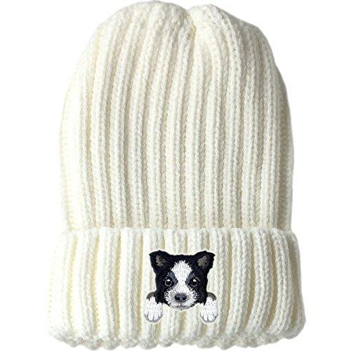 ([ Border Collie ] Cute Embroidered Puppy Dog Warm Knit Fleece Winter Beanie Skull Cap [ White ])