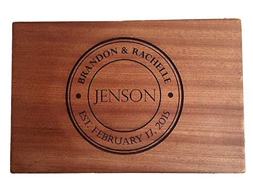 Personalized Gifts Couples Cutting Board - Wood Cutting Boards Bridal Shower, Housewarming, and Wedding Gifts (10 x 15 Mahogany Rectangular, Jenson Design) -