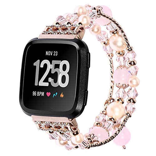 Junshion Fashion Sports Beaded Bracelet Strap Band for Fitbit Versa,Soft Strap Replacement Wristband Smart Fitness Watch