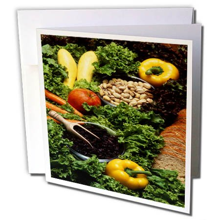 3dRose TDSwhite – Farm and Food - Food Healthy Eating Fruits Vegetables Nuts - 12 Greeting Cards with Envelopes (gc_285150_2) by 3dRose