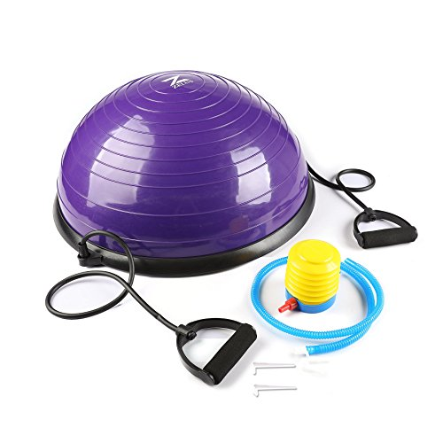 Z ZELUS 23 Inch Large Yoga Balance Ball Trainer with Resistance Bands & Foot Pump for Yoga Fitness Strength Exercise Workout (Purple)