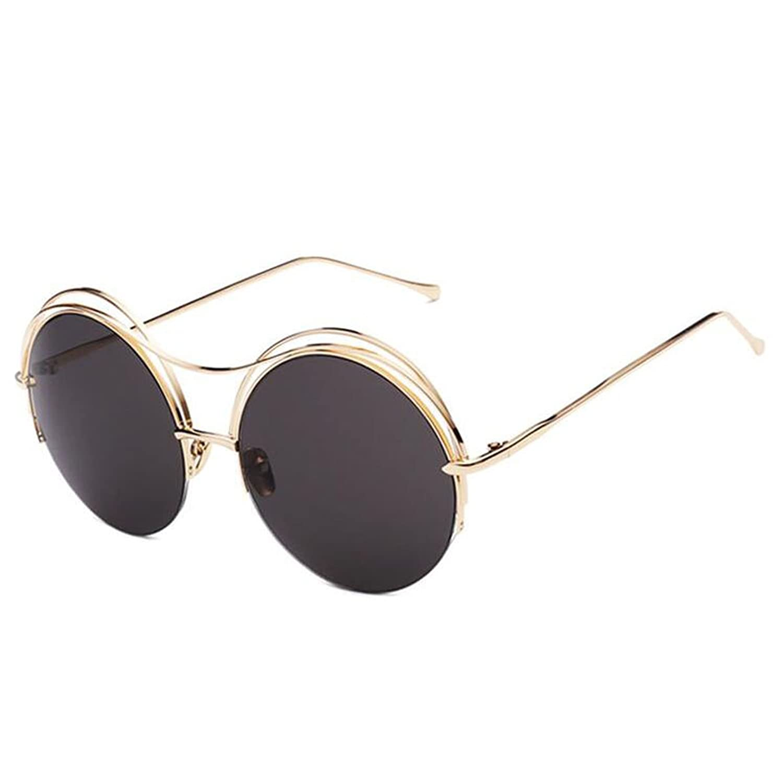 Donne Uomini Occhiali Da Sole Fresco Classic Twin-Travi Telaio In Metallo Lusso Scatola Rotonda Specchio Occhiali Da Vista UV400,C3-OneSize