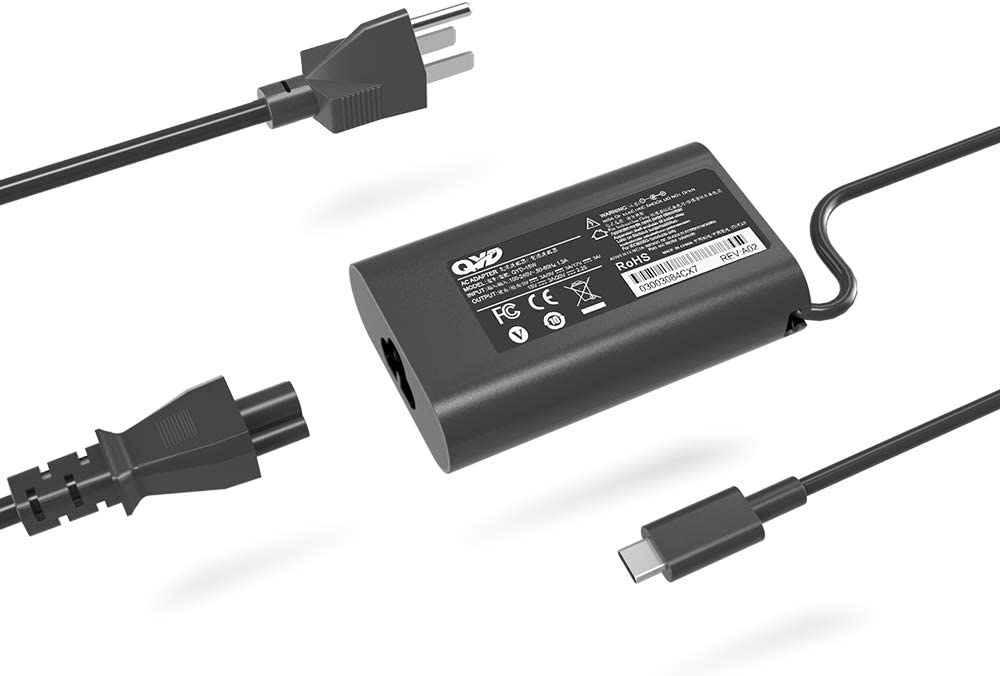 QYD USB-C Charger 45W Type-C PD Adapter Replacement for Lenovo Yoga Laptop Charger Dell XPS 13 9365 9370 9380,Latitude 7275 7370 5175 5285 5290-2in1 7390-2in1 P82G001 LA45NM150 HA45NM150 0HDCY5