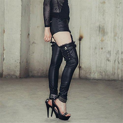 Fashion La Pantalones Las 7 Adelgazan Mujeres Flacos Que Steampunk G¨®ticas Tamanos De Devil Convertibles Abotonan Pu Los Polainas Cuero pwd1qHW