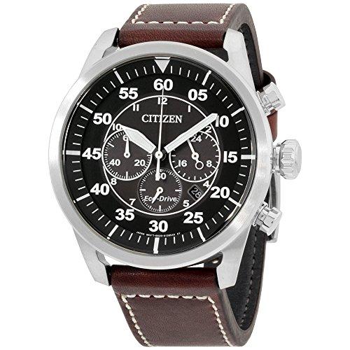 Citizen Mens black dial, leather bracelet watch CA421024EXG (Certified Refurbished)