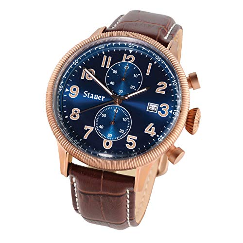 Stauer Men's Gallivant Chronograph Watch with Brown Leather Band ()