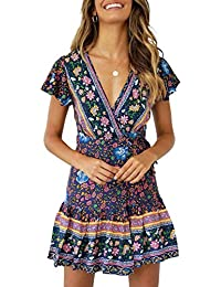 e923a6ff15e Women s Summer Wrap V Neck Bohemian Floral Print Ruffle Swing A Line Beach  Mini Dress