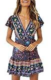 ZESICA Women's Summer Wrap V Neck Bohemian Floral Print Ruffle Swing...