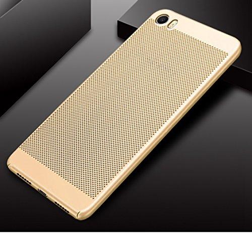 Funda Xiaomi Mi 5,Alta Calidad Ultra Slim Anti-Rasguño y Resistente Huellas Dactilares Totalmente Protectora Caso de Plástico Duro Case,Cuadrícula Disipación de calor Antideslizante Cover C