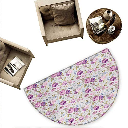 Floral Semicircular Cushion Floral Pattern Pastel Tones Love and Adoration Theme Lovely Leaves Petals Entry Door Mat H 66.9
