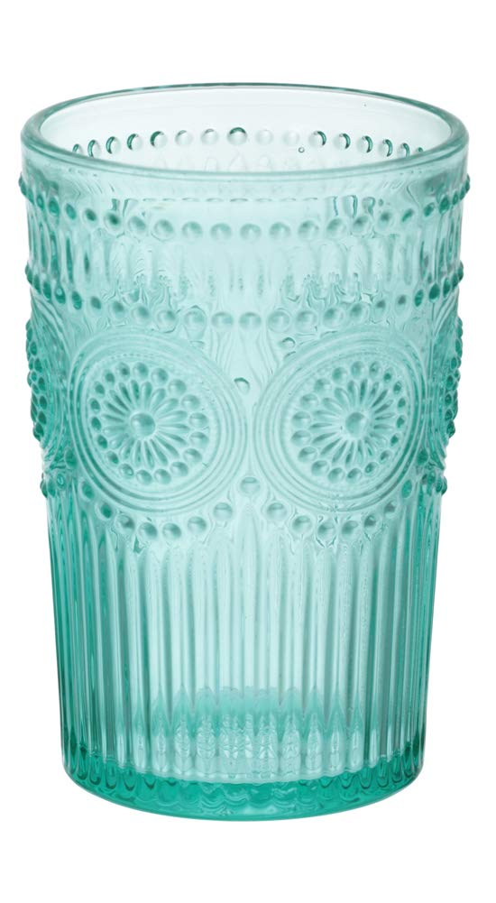 Set of 4 The Pioneer Woman Adeline 16-Ounce Emboss Glass Tumblers Turquoise