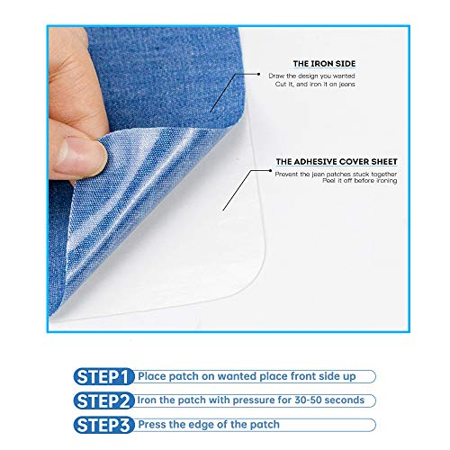 AXEN 12 Pieces Iron On Denim Patches for Clothing and DIY Repair Sewing Repair Patches Rectangle, White