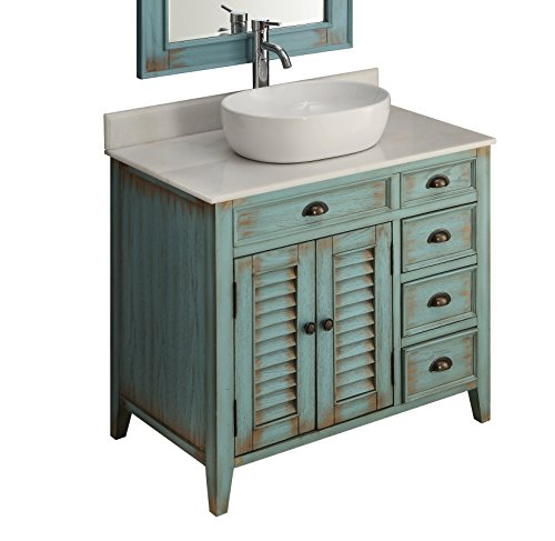 36″ Benton Collection Distress Blue Abbeville Vessel sink Bathroom Vanity CF-78886BU