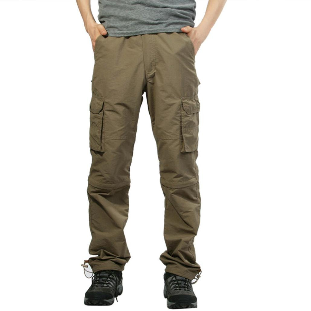 Andsome Men Outdoor Quick-Drying Casual Pants Fashion Solid Loose Removable Overalls (XXXL, Khaki)