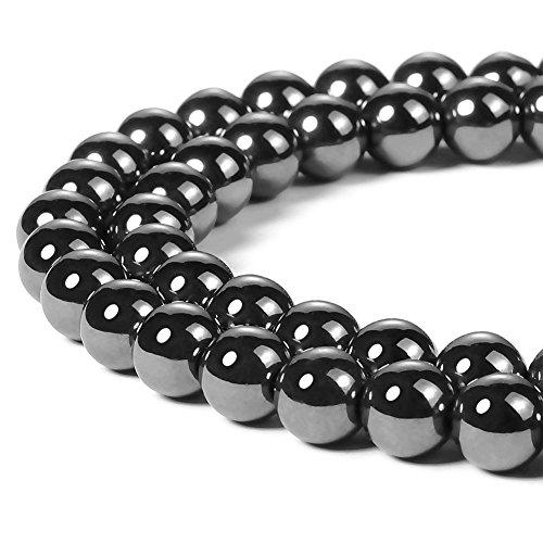 Black Round Spacer Bead - Chengmu 8mm Black Hematite Beads for Jewelry Making Natural Gemstone Round Loose Stone Spacer Beads for Bracelet Necklace