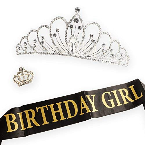 AMAZECO Birthday Girl Sash Tiara Crown and Crown Brooch,Birthday Girl with Gold Encased Glitter Lettering, Happy Birthday Party Supplies, Favors, Decorations 16th, 21st, 30th, 40th, 50th, 60th 70th]()
